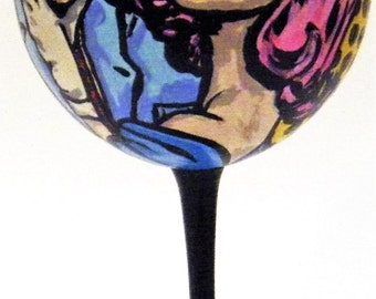 Hand painted red wine glass