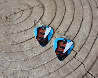 Guitar Pick Jewelry - Earrings - Bass Guitar - Music - Rock and Roll