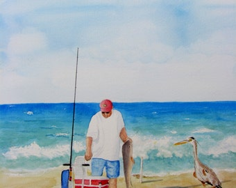 Fishing painting original watercolor seascape painting portrait nautical beach art small painting red blue tan white 8.5x11