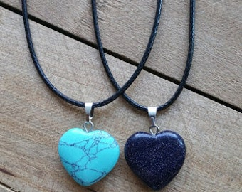 Gemstone Heart Necklace - Turquoise Heart, Blue Sandstone Heart, Heart Necklace, Healing Necklace, Chakra Necklace, Leather and Gemstones