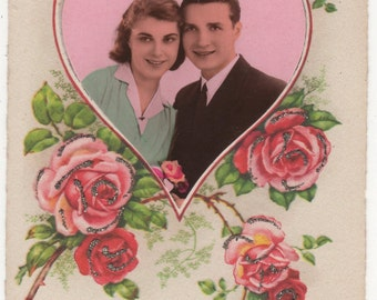 Vintage FRENCH DECO Real Photo Postcard,Glamourous ROMANTIC Couple,Roses,Glitter, c1930s