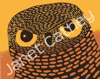 Ule Owl Bird Art Original Graphic Linocut Print