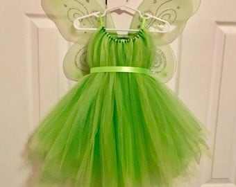 Tinker Bell Costume - Fairy Wings - Green Tulle Dress