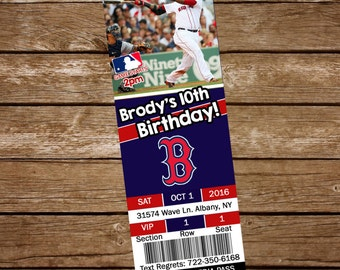Baseball Ticket Invite, Red Sox Invitation, Baseball Invitation, Baseball Party Invitation, Baseball Ticket Invitation