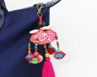Colorful Pompom Tassel Keychain With Vintage Hmong Fabric