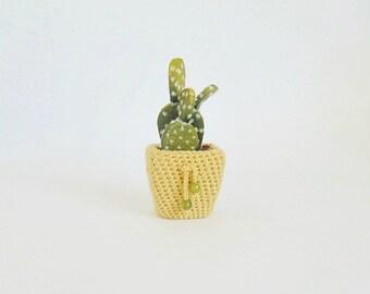 Flower and pot, cactus, miniature flower, artificial plants, planter, crochet pot, home decor, crochet plant cozy, yellow planter, for home