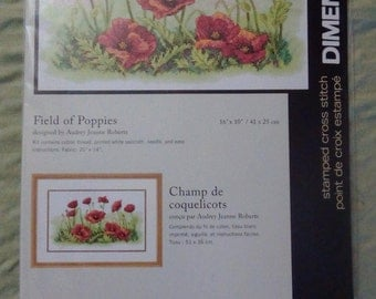 Field of Poppies stamped cross stitch kit