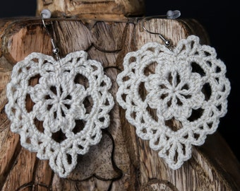 Crochet Heart Earrings - Rustic/Fall Collection