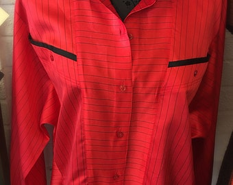 1980's batwing blouse / ladies shirt/ orange and black / pin stripe / ladies top