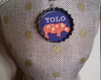 YOLO Rhino / Hippo Size Beverages - Spinning Bottle Cap Necklace