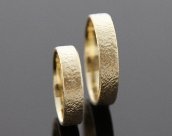 Wedding rings FORGED 8 k or 14 k gold