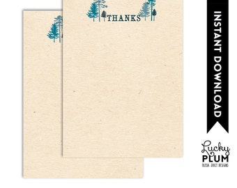 Woodland Forest Thank You Card / Tree Ring Thank You Card / Deer Thank You Card / Bear Rabbit Owl Thank You Card / DIY Printable