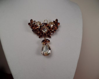 Dazzling 1950's Brooch in Autumn Hues Signed Austria