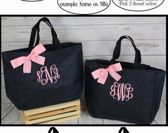 9 Personalized Bridesmaid Tote, Bridesmaid Gift Tote Bag- Wedding Party Gift- Bridal Party Gift-