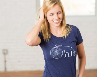 Ohio Bike Womens Tshirt, Screenprinted Tshirt, Heather Blue, Vintage Bike