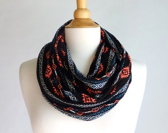 SALE Black Infinity Scarf southwest print circle scarf turquoise loop scarf, coral aztec print scarf, cowl scarf fashion accessory