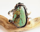 Kingman Turquoise - Rooted Earth Elements - Sterling Silver and Copper Bracelet Cuff