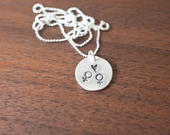 Equality Necklace, Equality Symbol, Gay Marriage Necklace, Same Sex Marriage, Male Male Necklace, Equal Rights, Sterling Silver Hand Stamped