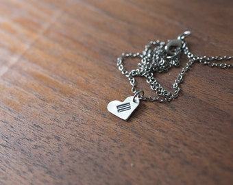 Equality Necklace, Equality Symbol, Gay Marriage Necklace, Same Sex Marriage, Human Rights, Equal Rights, Sterling Silver Hand Stamped Charm