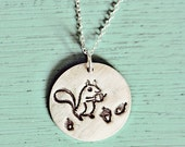 silver SQUIRREL NECKLACE by boygirlparty - handmade squirrel jewelry - sterling squirrel acorn pendant charm