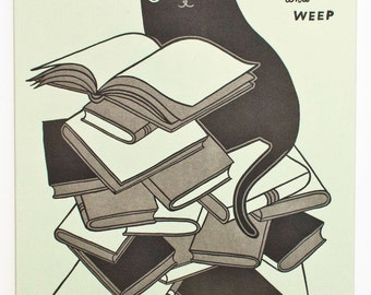 """11x14 Letterpress Poster Book Poster - """"Read 'em and weep"""" Black Cat Letterpress Print 11x14 Letter press Poster"""