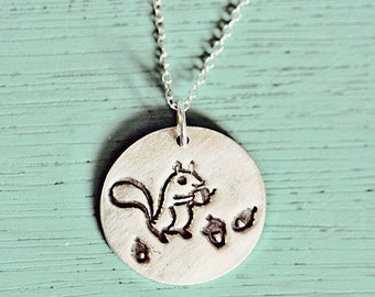 sterling silver SQUIRREL NECKLACE, squirrel girl gifts, woodland animals, best friend gift, boho necklace, squirrel jewelry, college student