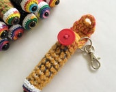 Chapstick Accessories for Bags & Purses, Keychains and Lanyards, Monster Eyeball Chapstick Holder, Lip Balm Cozy - Yellow