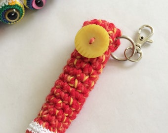Chapstick Keychains and Lanyards, Accessories for Bags & Purses, Monster Eyeball Chapstick Holder, Lip Balm Cozy - Red