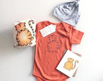 Little Tiger Gift Set, baby shower present, christmas infant gift, cute tiger set, includes handmade tiger plush, romper, hat, card