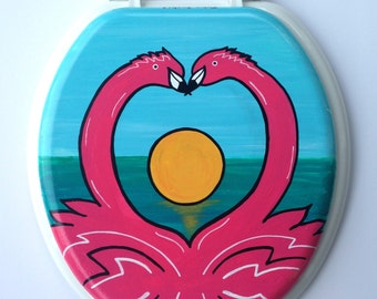 Flamingos In Love Hand Painted Toilet Seat Tropical Vacation