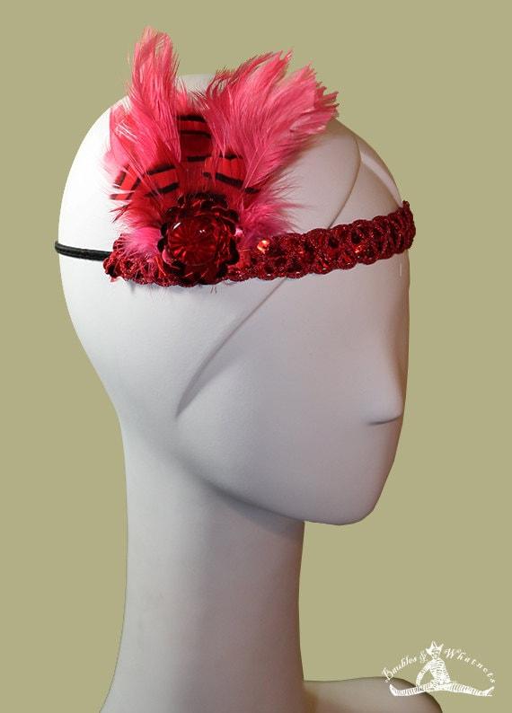 1920s Style Red Colored Headband - Flapper Headband - NYE - New Year's Eve - Burlesque Headband - OOAK