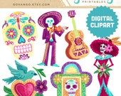 DIA de los MUERTOS Digital Collage Clipart Instant Download Illustration Halloween Skull Day of Dead Catrina Mariachi Mexican Folk Art Bird