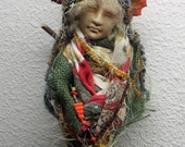 Hunters Moon, Harvest Festival, Art Doll, Shabby Chic Decor, OOAK Art Doll,  Kitchen Witch