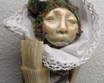 Winter Moon, Figurative Sculpture, Assemblage mixed media Art Doll by Griselda