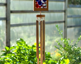 Wind Chime, Blue, Red, Purple Glass, Cedar, Copper Suncatacher Windchimes