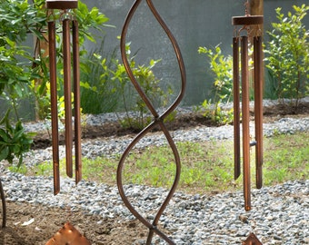 Wind Chime Large Freestanding Sea Glass Copper Chimes Beach Glass Stained Glass