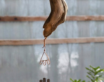 Wind Chimes Natural Pacific Driftwood with Brass Chimes
