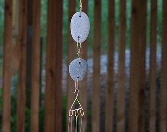 Wind Chime Beach Stone and Copper with Brass Chimes, windchimes wind chimes windchime
