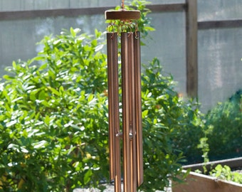 Wind Chimes Glass Sun Catcher with Copper Chimes sea glass beach glass stained glass windchime