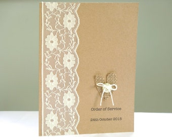 Order of Service Booklets - burlap and lace shabby chic wedding - Rustic wedding programmes - Barn wedding menu cards - SAMPLE