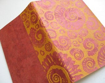 LINED PAPER MOLESKINE - Ammonites Design - Japanese Paper Cover - 5x8 Journal - Ready to Ship