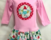 Girl's Christmas Dress Owl Applique in Pink