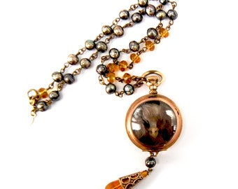 """Steampunk BIRD SKULL Necklace """"Ossuary Relics"""" by Nouveau Motley Victorian Pocket Watch Case Czech Glass Rosary Chain Baroque Pearls OOAK"""
