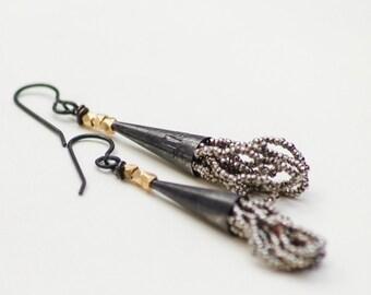 Blackened Sterling Tassel Earrings Steel Cut Antique/Vintage Beads Sterling Cone Industrial Aged Look One Of A Kind
