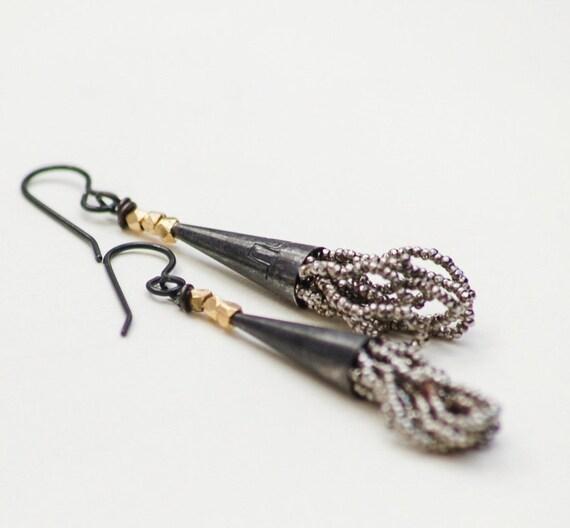 blackened sterling tassel earrings steel cut antique vintage