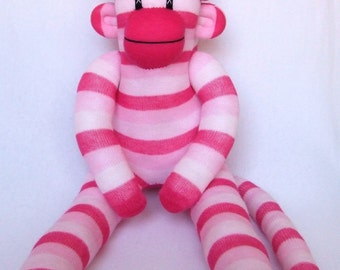 Pink Striped Sock Monkey with star covered pom pom hat (made to order)