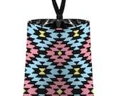 Car Trash Bag // Auto Trash Bag // Car Accessories // Car Litter Bag // Car Garbage Bag - Aztec Navajo Tribal Pale Light Aqua Black Pink