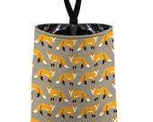 Car Trash Bag // Auto Trash Bag // Car Accessories // Car Litter Bag // Car Garbage Bag - Red Fox - Light Taupe brown grey orange