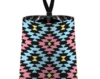 Car Trash Bag // Auto Trash Bag // Car Accessories // Car Litter Bag // Car Garbage Bag - Aztec Navajo Tribal Pale Light Aqua Black Pink