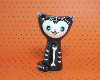 Day of the Dead Cat Figurine - Collectible Miniature Resin Figure